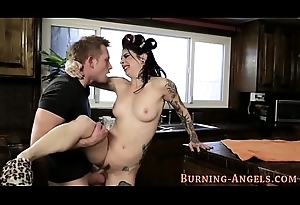 Goth cosset has anal sex