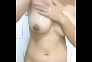 Sexy GF Playing With Boobs In Shower