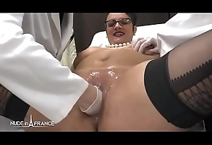 Inferior BBW french milf fisted analyzed plus facialized in 3way forwards gyneco
