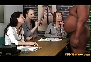 Handsome bdsm babes tugging black guys cock