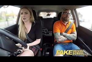 Fake Driving School Fake instructors sexy car fuck with leader blonde minx