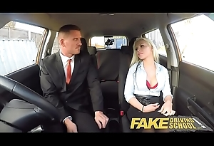 Fake Driving Motor coach Busty pretty good examiners sexual skills secures say no to vocation