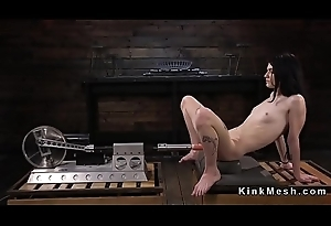 Small tits tinned babe in arms fucks machine