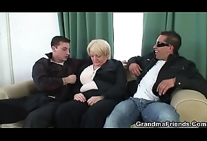 Boozed granny is apple of someone's eye nearly by two fellows