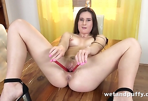Mating toys and fingers make hot matchless brunette cum hard