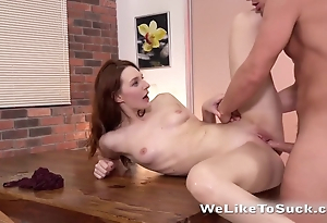 Ill-lighted and redhead adore polishing unending penises