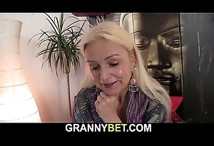 Blonde-haired bony granny rides big meat