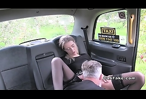 Fare chick in stockings in fake taxi bangs